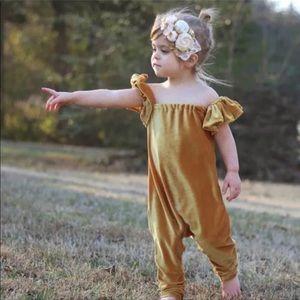 Baby velvet jumpsuit romper overalls ruffle sleeve